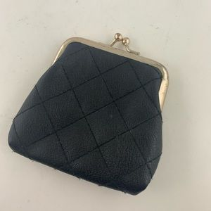VINTAGE Quilted Leather Coin Pouch